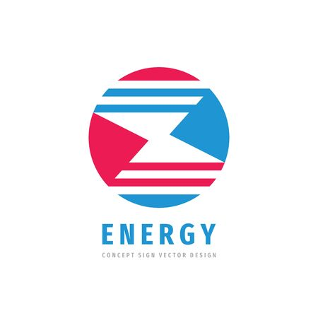 Power energy lightning - concept business logo template vector illustration. Abstract shapes in circle creative logo sign. Cooperation symbol. Graphic design element. Ilustração