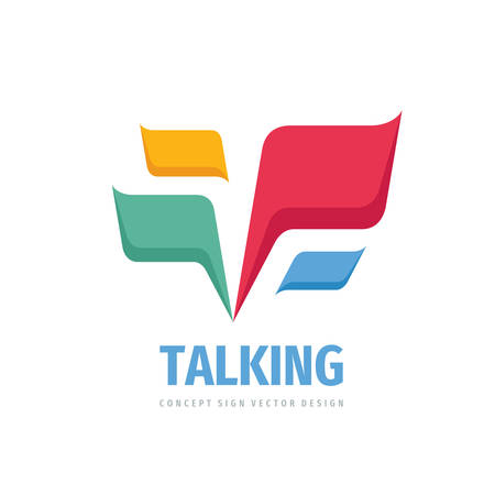 Talking - speech bubbles vector logo concept illustration in flat style. Dialogue icon logo. Chat logo sign. Social media logo symbol. Communication messages logo insignia. Design element. Ilustracja