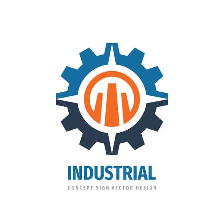 Industrial logo template design. Gear, arrows symbols. Abstract cogwheel concept icon logo. Idustry manufacture logo. Vector illustration. Technology service. Business development. Plant factory logo.