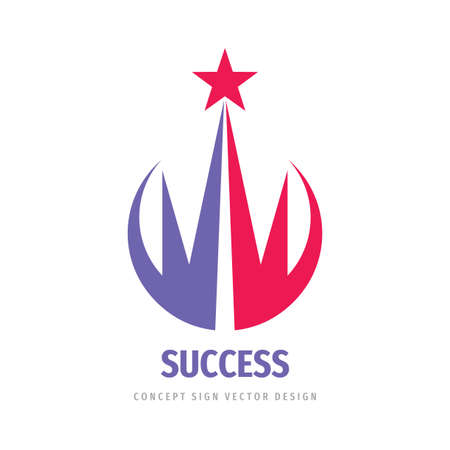Success - abstract vector logo. Design elements with star logo sign. Development logo symbol. Growth and start-up logo concept illustration.