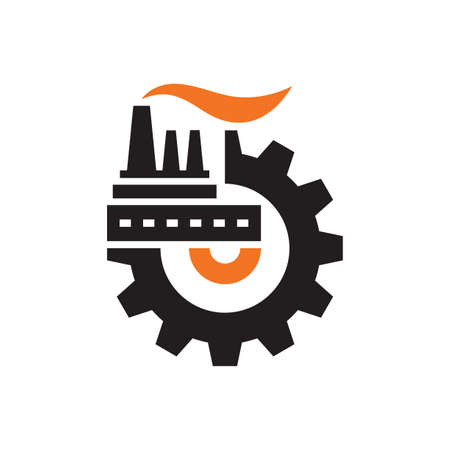 Factory plant with gear logo vector design. Industry concept icon logo sign. Graphic design element. Vector illustration. Logo