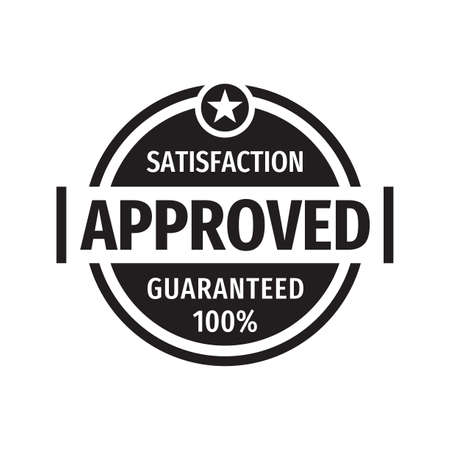 Approved satisfaction guaranteed 100% badge design element in black & white colors.