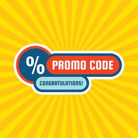 Promo code coupon design. Advertising promotion banner for discount sale. Percent% symbol. 矢量图片