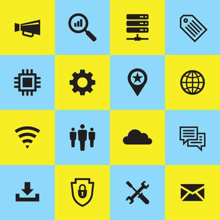 Computer network icon set. Internet concept sign. Electronic technology symbol. Vector illustration. Illusztráció