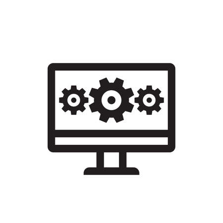 Computer with gears - vector business black icon concept line art illustration. Wrench and gears symbols. Search engine optimization. Abstract technology electronic sign. SEO. Graphic design element.