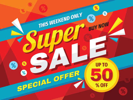 Super sale horizontal banner design. Abstract promotion discount up to 50% off poster. Special offer, this weekend only, buy now. Advertising decorative vector layout. Clearance retail tag. Marketing.