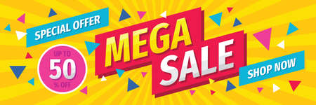 Mega sale concept horizontal banner template design. Discount abstract promotion layout poster. Vector illustration. Vector Illustratie