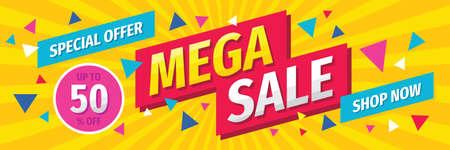 Mega sale concept horizontal banner template design. Discount abstract promotion layout poster. Vector illustration. Ilustração Vetorial