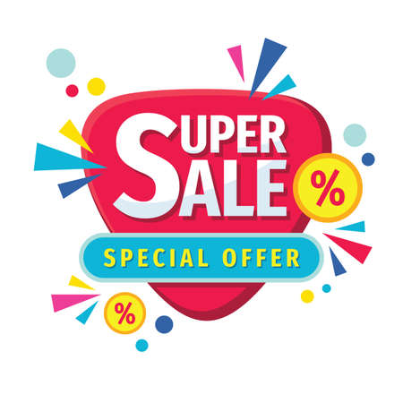 Super sale - concept banner vector illustration. Abstract discount percent promotion layout on white background. Special offer. Design elements.