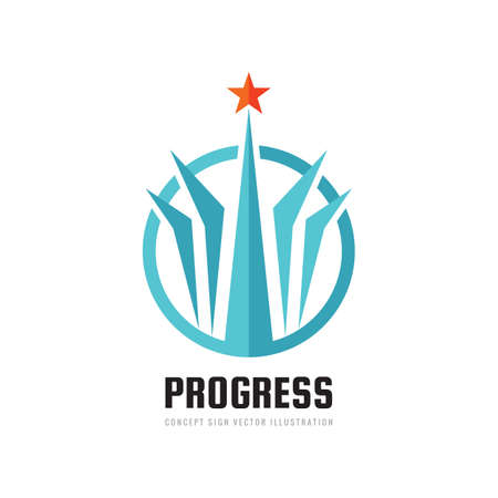 Progress - abstract vector logo. Design elements with star sign. Development success logo symbol. Growth and start-up concept logo illustration. 向量圖像
