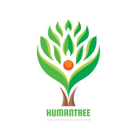 Tree human character - vector logo template concept illustration. Ecology logo sign. Eco nature logo symbol. People icon logo. Design eleement.