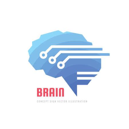 Abstract human digital brain - business vector logo template concept illustration. Creative idea sign. intelligence mind logo symbol. Graphic design element. 向量圖像
