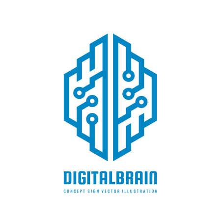 Abstract human digital brain - business vector logo template concept illustration. Creative idea logo sign. ITElligence mind logo symbol. Design element.