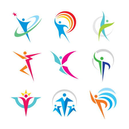 Set of abstract colorful human character logo. Collection people concept vector illustration. Sport, fitness, happiness, friendship, winner, health, active, leadership. Graphic design elements.