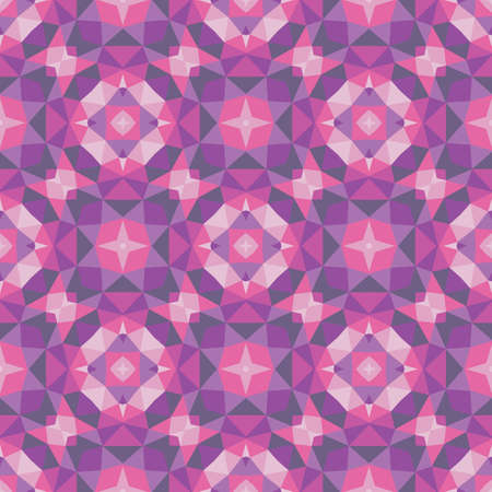 Abstract geometric background. Seamless pattern design. Violet lilac colors. Mosaic decorative structure. Vector illustration.