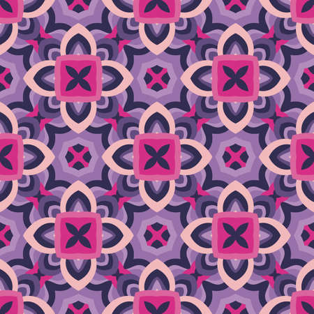 Abstract geometric background. Seamless pattern design. Violet lilac colors. Mosaic decorative flowers structure. Vector illustration.