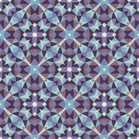 Abstract geometric background. Seamless pattern design. Blue and violet colors. Mosaic decorative structure. Vector illustration.
