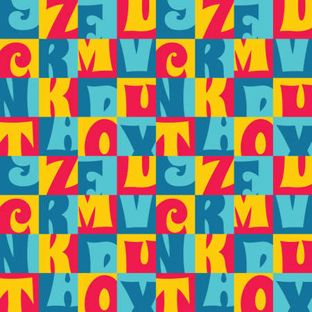 Background vector abstract design. Geometric seamless pattern in blue, red, yellow colors. Decorative wallpaper. Font typography mosaic. Vector illustration. Ilustrace