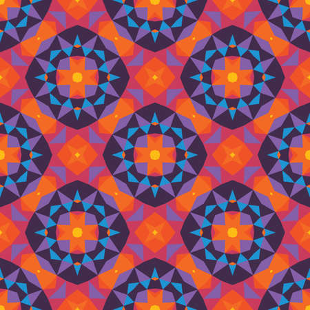 Abstract geometric background. Seamless pattern design. Violet, lilac, blue, orange colors. Mosaic decorative flowers structure. Vector illustration.