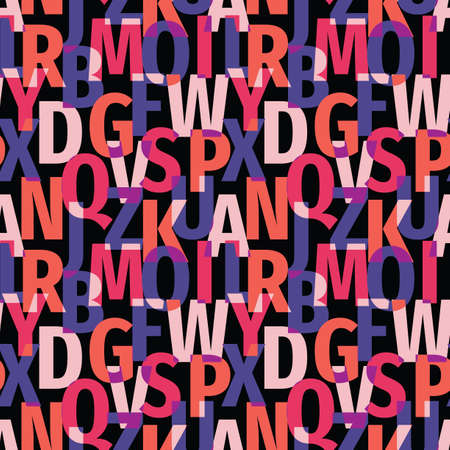 Font background seamless pattern. Typography lettering concept backdrop. Abstract geometric colorful vector ornament. Mosaic decorative wallpaper. Vettoriali