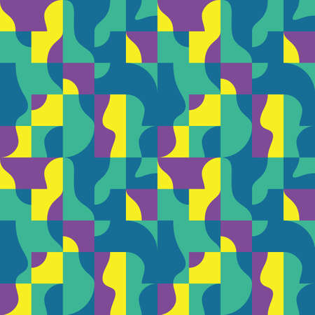 Background vector abstract design. Geometric seamless pattern in green, violet, yellow colors. Decorative mosaic wallpaper. Vector illustration. Ilustrace