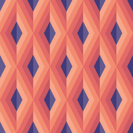 Background vector abstract design. Geometric seamless pattern in lilac, violet, pink, beige colors. Decorative mosaic wallpaper. Rhombus shape. Retro vintage style. Vector illustration.