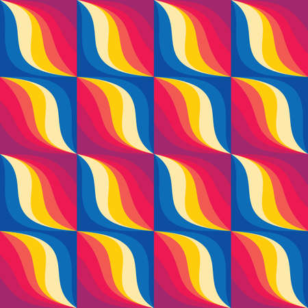 Background vector abstract design. Geometric seamless pattern in blue, red, yellow colors. Decorative mosaic wallpaper. Vector illustration.