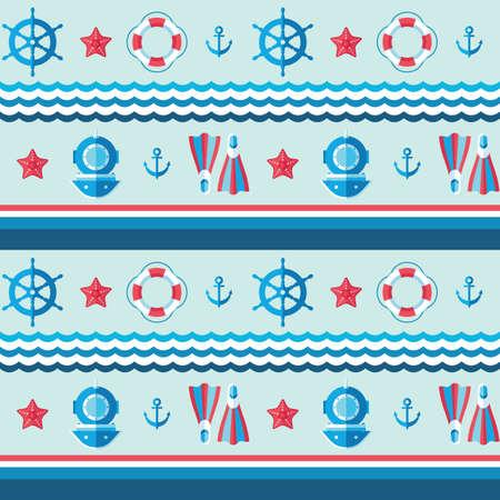 Sea background vector design. Nautical swimming seamless pattern. Marine navigation decorative concept backdrop. Travel cruise wallpaper.