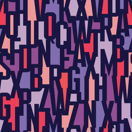 Font abstract geometric background - seamless vector colorful pattern. Typography lettering concept backdrop. Vettoriali