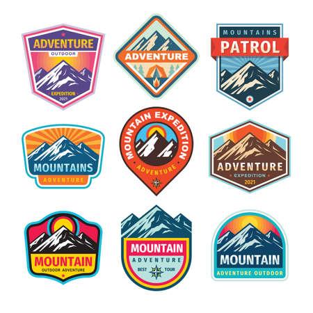 Mountain badges set. Adventure outdoor creative vintage logo design. Climbing hiking emblem collection. Vector illustration.