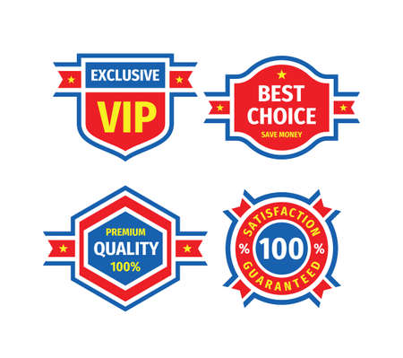 Badge design set. Business logo collection. Exclusive VIP. Best choice, save money. 100% premiun quality. Satisfaction guaranteed. Sale discount concept emblem vintage label. Vector illustration.