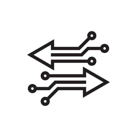 Digital exchange - concept business logo design. Transfer change data information. Arrows synbols. Network communication icon. Electronic technology sign. Ilustração