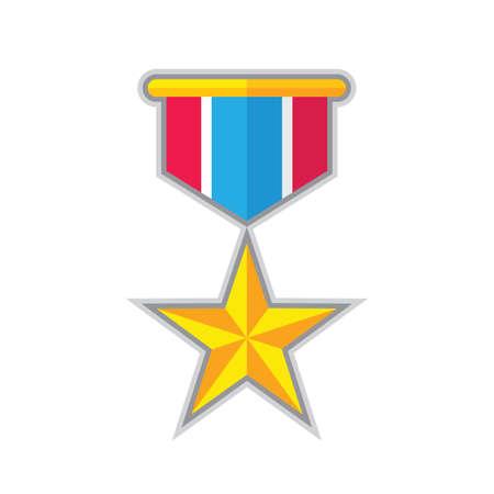 Award star medal - concept icon in flat graphic design style. Sign for website, mobile application, presentation, infographic. Reward winner symbol. Vector illustration.