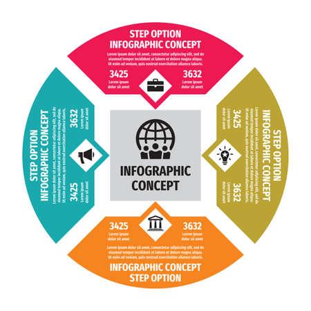 Infographic business concept illustration. Big data creative banner. Abstract circle layout. Four step options. Design elements. Vektoros illusztráció