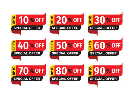 Sale price-tag badges design set. Discount up to 10, 20, 30, 40, 50, 60, 70, 80, 90% off. Clearance promotion sticker collection. Vector illustration.