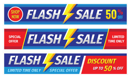 Flash sale banner set. Discount up to 50% off. Graphic concept layout. Vector illustration. Vector Illustratie