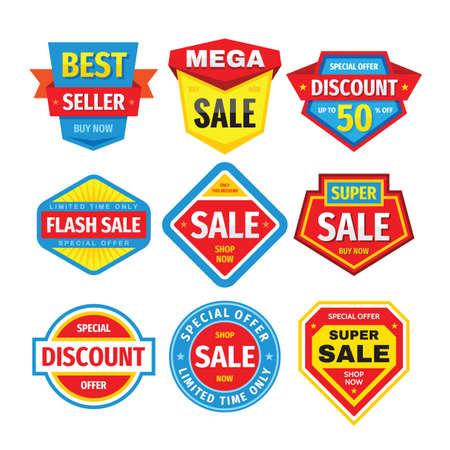 Sale design badges set. Discount clearance tag banner. Special offer sticker collection. Promotion market emblem. Vector illustration.