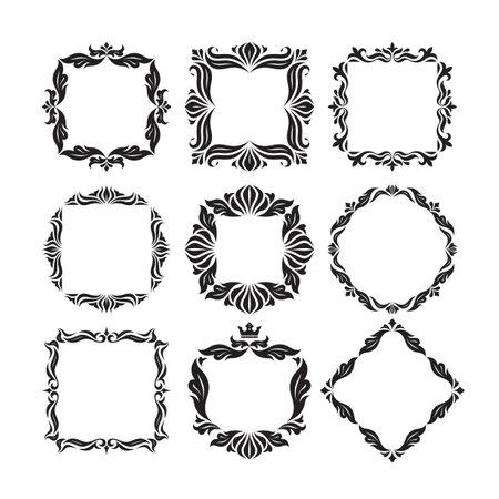 Ornamental florish decorative frames set. Graphic luxury borders for monogram design. Vector illustration.