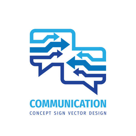 Message talking - speech bubbles vector business logo concept illustration in flat style. Dialogue icon. Chat sign. Social media symbol. Communication arrows insignia. Design element.