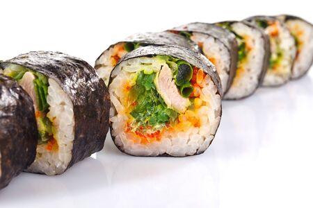 solated on white: traditional fresh japanese sushi rolls solated on white background Stock Photo