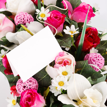 artifical: gift card with artifical flowers