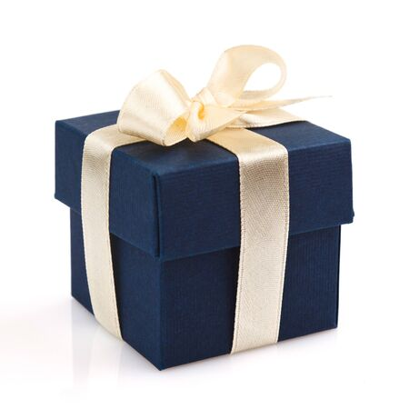 valentine's present: dark blue gift box with golden ribbon and bow isolated on white Stock Photo