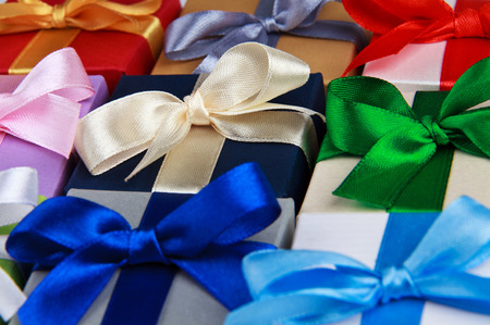 colorful gift boxes with bows top view photo