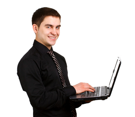 finanse: man with laptop on a white background Stock Photo