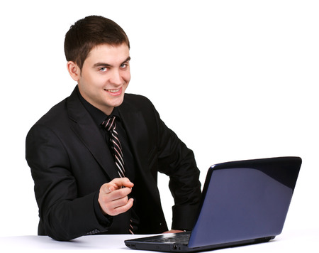 observer: businessman with laptop displays the finger at the observer