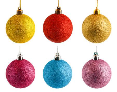 saved: six colored Christmas balls vith saved paths