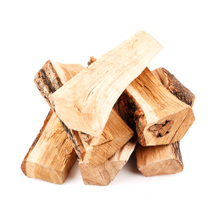 stack of firewood isolated on white background photo