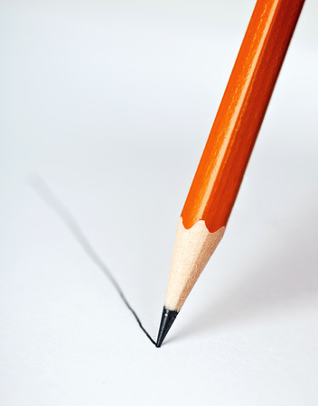 pencil draws a straight line on a white background