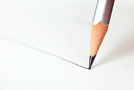 straight line: pencil draws a straight line on a white background