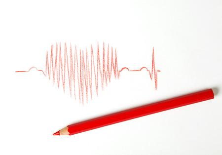 taking pulse: kardyohramy drawing on white paper Stock Photo